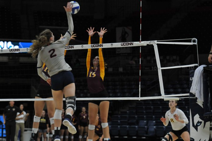 The UConn Huskies Women's Volleyball Team plays against the Iona Gaels at Gampel Pavilion on August 31, 2018. The game resulted in a win for the Huskies. (Judah Shingleton/The Daily Campus)