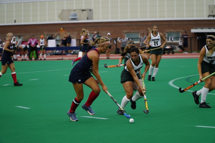 File- UConn field hockey presses the attack against Michigan State. (Eric Wang/ The Daily Campus)