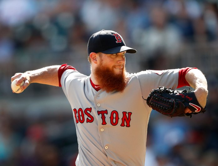 Boston Red Sox relief pitcher Craig Kimbrel works against the Atlanta Braves in the ninth inning of a game on Monday, Sept. 3 in Atlanta. (John Bazemore/AP)