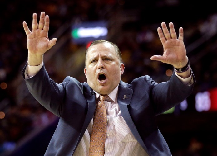 In this April 5, 2015, file photo, Chicago Bulls head coach Tom Thibodeau directs his players during the fourth quarter of an NBA basketball game against the Cleveland Cavaliers in Cleveland. (AP Photo/Tony Dejak, File)