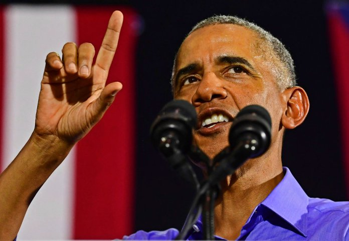 Former President Barack Obama speaks as he campaigns in support of Ohio gubernatorial candidate Richard Cordray, Thursday, Sept. 13, 2018, in Cleveland. (AP Photo/David Dermer)