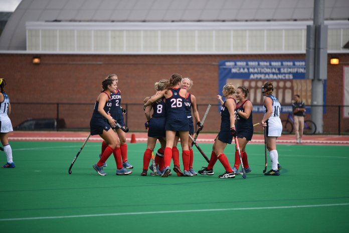 The Huskies celebrate a goal together during their game against Quinnipiac on Sept. 15, (Charlotte Lao/ The Daily Campus)