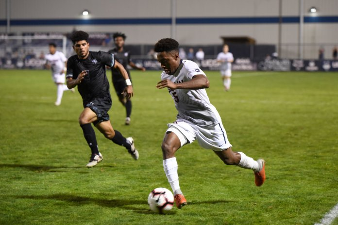 The Men's Soccer team defeat Loyola 3-2 in a short noticed home game on September 15. The game went in double overtime and Abdou Mack Thiam scores the winning goal. (Charlotte Lao/The Daily Campus)