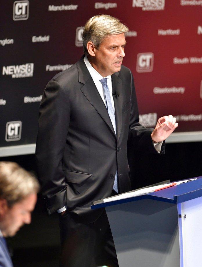 Gubernatorial candidate Republican Bob Stefanowski speaks during a debate with Democrat Ned Lamont at the Shubert Theatre in New Haven, Conn., Monday, Sept. 17 2018. (Peter Hvizdak/New Haven Register via AP)