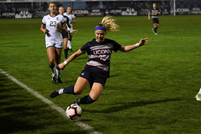 UConn Women's Soccer plays East Michigan Friday night at Marrone Stadium. Sophomore Yamilee Eveillard led the team with six shots on the goal but the game ended in a 0-1 loss. Photo by Associate Photo Editor, Nicholas Hampton