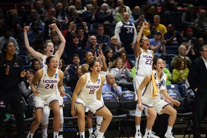 The Huskies make records as they defeat the Red Flash 140-52 on March 17,2018 for the first round of the NCAA tournament. They will be hosting Quinnipiac on Monday, March 19, 2018 at 6:30 for the second round. (Photo by Charlotte Lao/The Daily Campus)