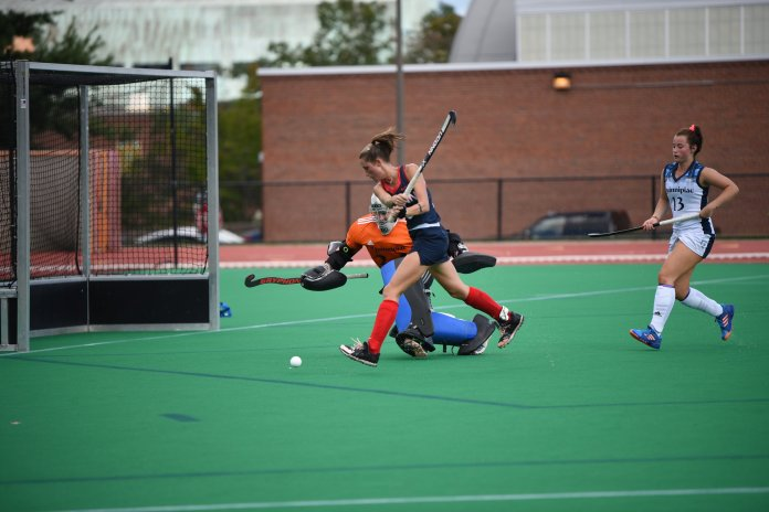 File-  UConn creates a scoring chance during their game against Quinnipiac on Sept. 15, 2018. (Charlotte Lao/The Daily Campus)
