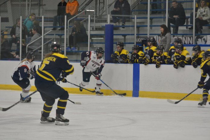 File- UConn women's hockey faces off against Merrimack at the Freitas Ice Forum during the 2017-18 season. (Jon Sammis/ The Daily Campus)