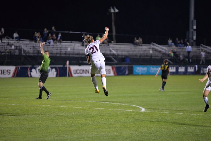 The Huskies fall 3-2 to Long Beach State University in double overtime on Thursday, Sept. 14, 2017 at Morrone Stadium. UConn's two goals were scored by Yamilee Eveillard (3) and Vivien Beil (21). File Photo/The Daily Campus