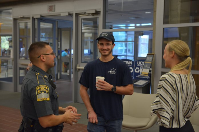UCPD gives out free coffee and good conversations in Homer Babbage Wednesday afternoon. The first Wednesday of October was dubbed National Coffee with a Cop day by Obama when he was president. (Nicholas Hampton/The Daily Campus)