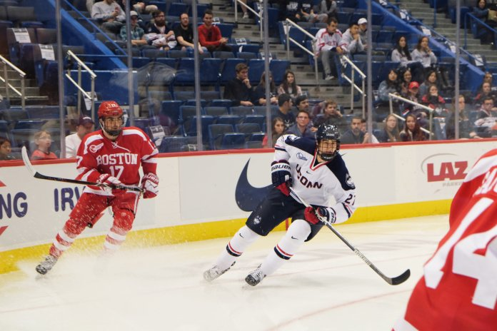 UConn and Boston College face off in the XL Center in Hartford on Saturday Oct. 21, 2017. The Huskies fought hard, but the Terriers came out on top 6-3. File Photo/The Daily Campus