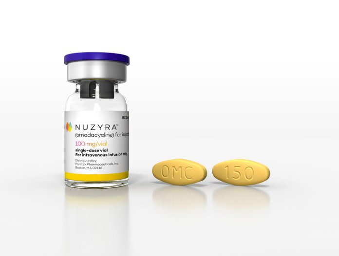 This undated image provided by Paratek Pharmaceuticals in September 2018 shows the antibiotic Nuzyra. On Tuesday, Oct. 2, 2018, U.S. regulators approved this modernized version of a decades-old antibiotic used to treat a number of infections. (Paratek Pharmaceuticals via AP)