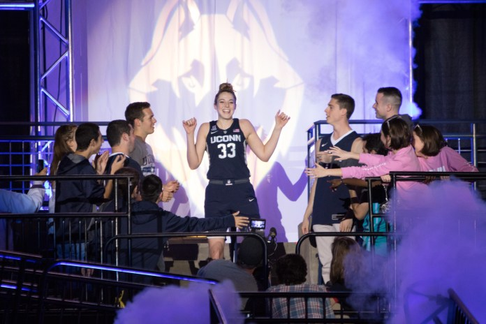 Katie Lou Samuelson walks out at the last First Night. This years edition will be her final appearance in the festivities as a player (File Photo/The Daily Campus)