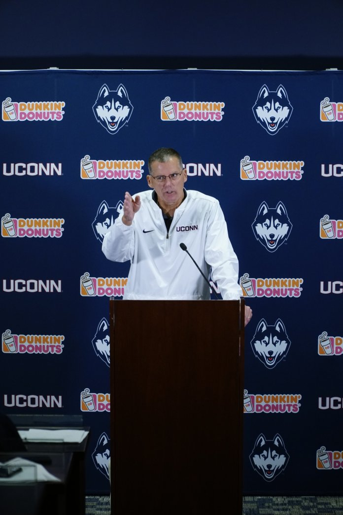 Huskies Head Coach Randy Edsall speaks about the stroke Eli Thomas had and about using the Bye Week to re-evaluate their performance. (Eric Wang/ The Daily Campus)