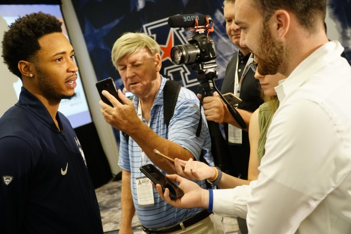 Jalen Adams discusses what to expect for the upcoming season at the American Athletic Conference Media Day. (Eric Wang/The Daily Campus)