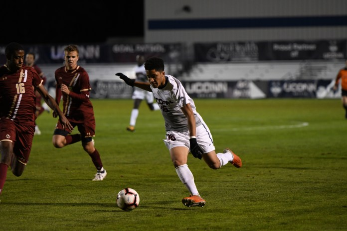 The Men's Soccer team defeats Boston College 3-2 on Tuesday night. Their next home game is this coming Saturday at 7 against Temple University (Charlotte Lao/The Daily Campus)