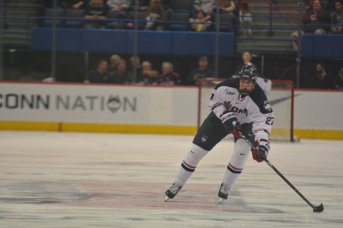Max Letunov was big, literally, and as a signature recruit from Russoa He spent three seasons as a prominent European for UConn and in College Hockey before signing with the San Jose Sharks (File Photo/The Daily Campus)