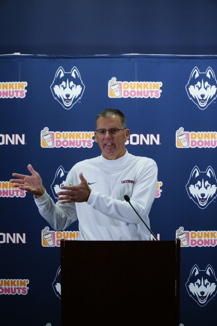 UConn Football Head Coach Randy Edsall speaks on the change in tone of practices. (Eric Wang/ The Daily Campus)