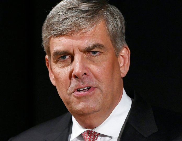 FILE - In this Sept. 26, 2018, file photo, Republican businessman Bob Stefanowski speaks to the media after gubernatorial debate at the University of Connecticut in Storrs, Conn. (AP Photo/Jessica Hill, File)