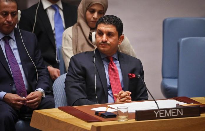 Yemen's Deputy U.N. Ambassador Marwan Ali Noman Al-Dobhany, center, listens during a meeting of the United Nations Security Council on Yemen, Tuesday Oct. 23, 2018 at U.N. headquarters. (AP Photo/Bebeto Matthews)