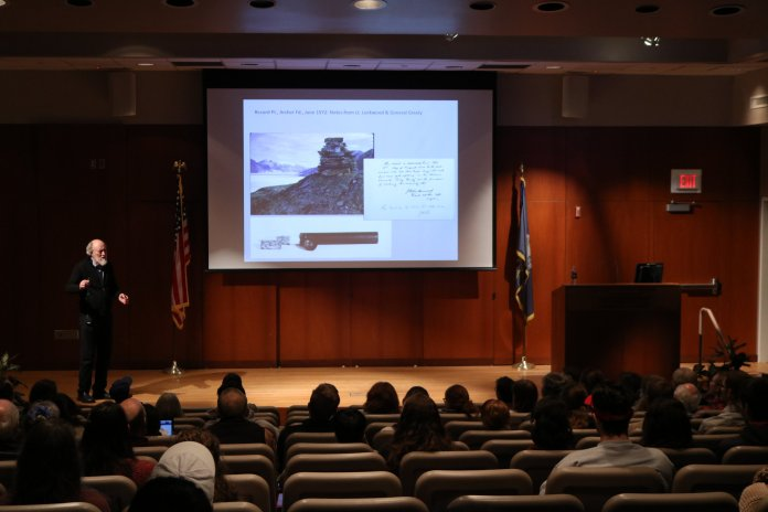 """""""Teale Lecture"""" provids by Dr. John England in Thomas J. Dodd Research Center. His lecture including the history of ancient ice sheets, sea ice and sea level that place dramatic modern changes of the Arctic environment. (Photo by Congyang An/The Daily Campus)"""