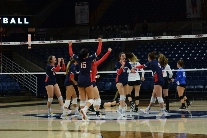 The UConn Huskies volleyball team battled the Memphis Tigers down to the last point at Gampel Pavilion on October 21, 2018. The match resulted in a 17-15 loss for the Huskies in the fifth set. UConn came back from being behind for the first two sets to leading sets three and four (Judah Shingleton/The Daily Campus)