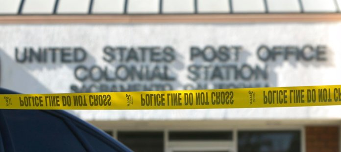 Police barricade tape is strung in front of the Colonial Staton Post Office where an the explosive device addressed to U.S. Sen. Kamala Harris, a California Democrat, was found in Sacramento, Calif., Friday, Oct. 26, 2018. The package is believed to be related to the nationwide investigation of pipe bombs sent to other prominent Democrats. (AP Photo/Rich Pedroncelli)