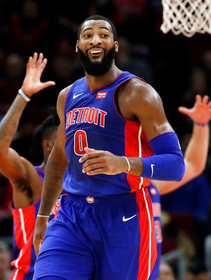 Detroit Pistons center Andre Drummond reacts to a call during the first half of an NBA basketball game against the Chicago Bulls, Saturday, Oct. 20, 2018, in Chicago. (AP Photo/Nam Y. Huh)