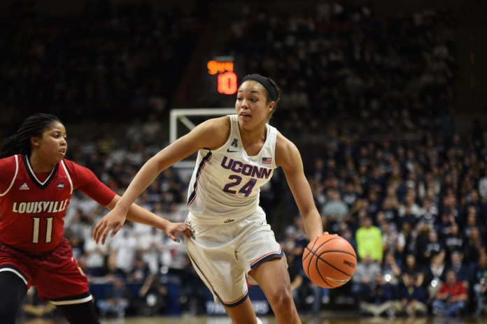 Napheesa Collier is UConn's starting forward this season in a dynamic unit (Charlotte Lao/The Daily Campus)