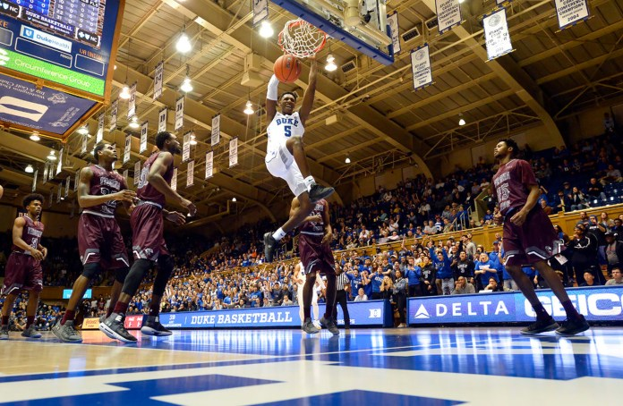 Duke forward RJ Barrett (5) slams a dunk during the first half of an NCAA exhibition college basketball game against Virginia Union, Tuesday, Oct. 23, 2018 in Durham, N.C. (Chuck Liddy/The News & Observer via AP)