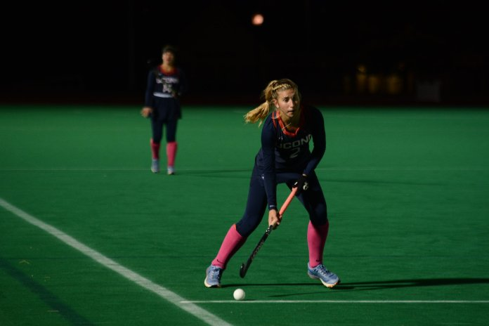 The UConn Women's Field Hockey Team compete against Liberty for the Big East conference 2018 title at the Sherman Family Sports Complex. (Judah Shingleton/ The Daily Campus)