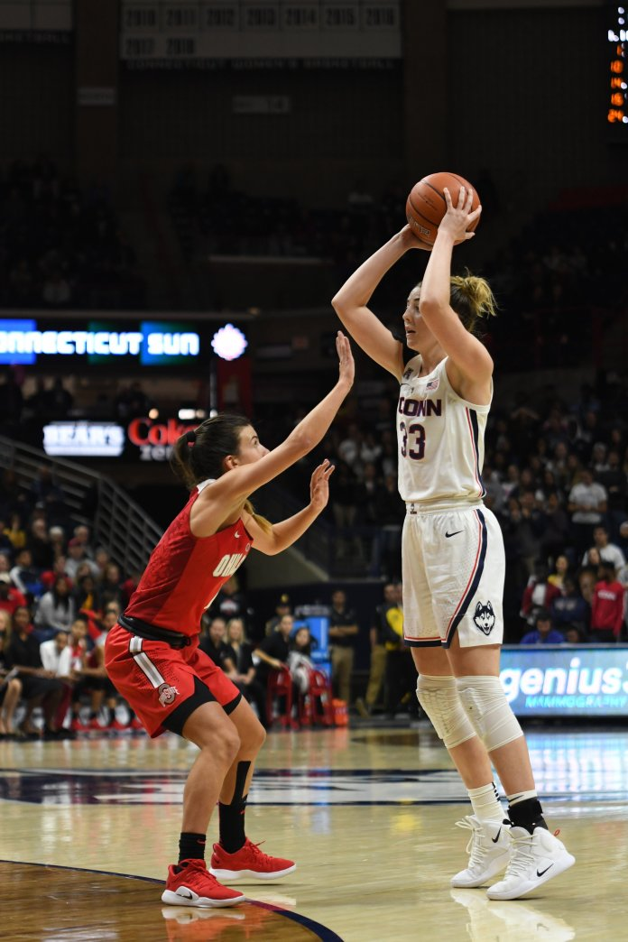 UConn's Katie Lou Samuelson looks for a passing lane against Ohio State on Nov. 11, 2018. (Judah Shingleton/ The Daily Campus)