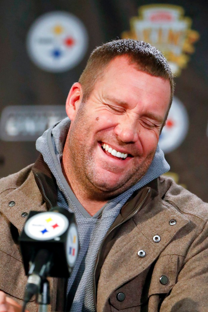 Pittsburgh Steelers quarterback Ben Roethlisberger laughs as he takes questions during a news conference after the team's NFL football game against the Carolina Panthers, Thursday, Nov. 8, 2018, in Pittsburgh. (AP Photo/Keith Srakocic)