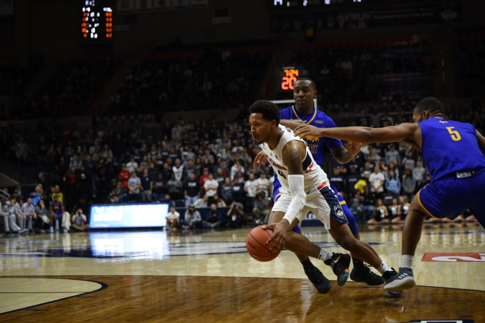 The Huskies won 94-66 against UMKC in Gampel Pavilion Sunday night. There was a variety of players scoring with ten of the team members getting points for the team and one assist from another member (Nicholas Hampton/The Daily Campus)