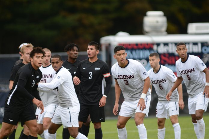 The Huskies will be playing the first round of the NCAA Tournament today at 1 p.m. against URI at Rentschler Field. Photo by Eric Wang/The Daily Campus