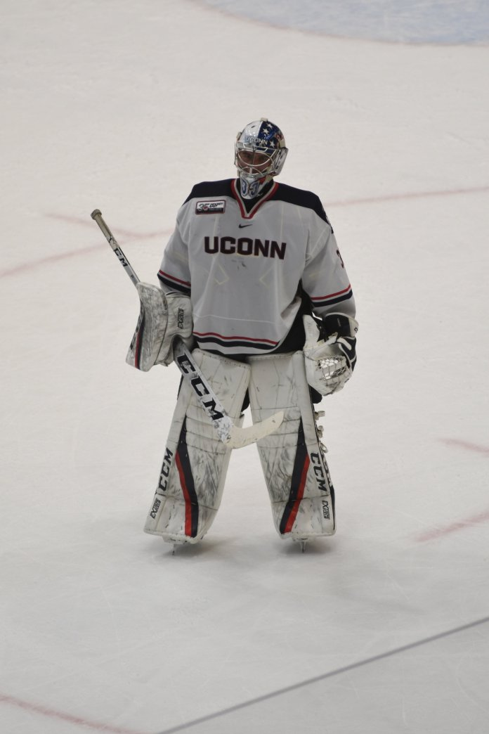 The Huskies won 3-1 against Brown, with Vomacka between the pipes. Their next home game is this Friday against UMass Lowell. Photo by Eric Wang/The Daily Campus