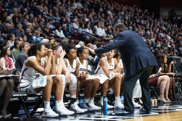 UConn head coach Geno Auriemma instructing his team during its victory over Vanderbilt Saturday night. Photo by Charlotte Lao, Photo Editor/The Daily Campus