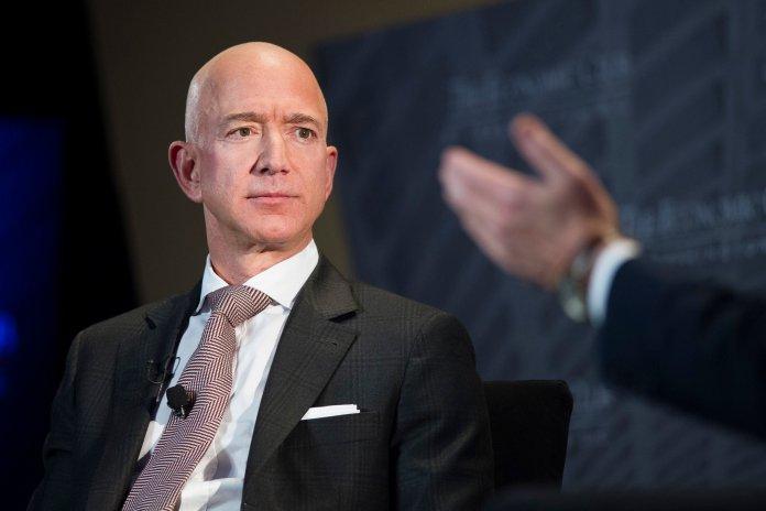 Jeff Bezos, Amazon founder and CEO, speaks at The Economic Club of Washington's Milestone Celebration in Washington on Sept. 13. (Cliff Owen, File/AP)