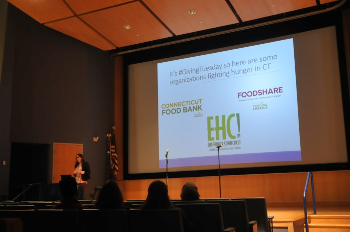 UConn PIRG hosts a Charity Showcase where speakers talk about homelessness and food insecurity in Connecticut. Different performers were also present to support the cause. (Photo by Nicole Jain/The Daily Campus)