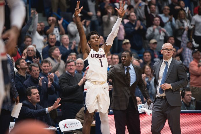 Christian Vital celebrates during UConn's 76-72 loss to Arizona. (Charlotte Lao/ The Daily Campus)