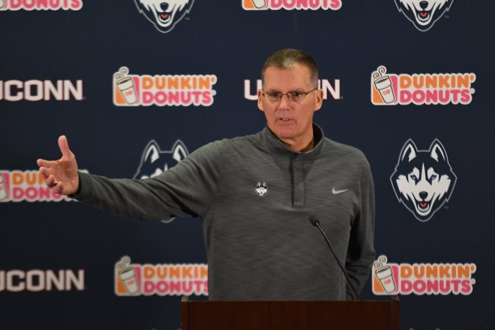 Randy Edsall speaks to the media. (Eric Wang/ The Daily Campus)