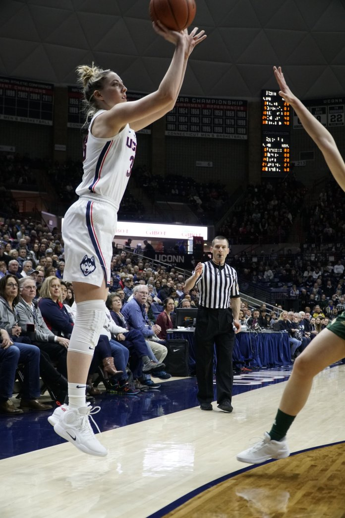 Senior Katie Lou Samuelson joined the exclusive 2,000-point club Sunday afternoon. Photo by Eric Wang/The Daily Campus