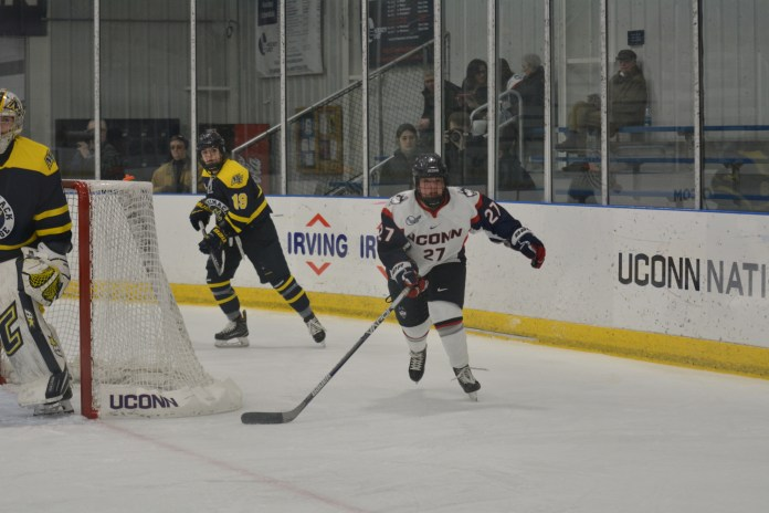 The Huskies dropped both games by scores of 5-2 and 4-1 against Northeastern. (File Photo/The Daily Campus)