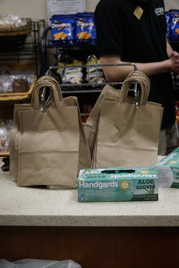 Grab N' Go locations are swapping the old plastic bags for the new paper bags (Eric Wang/The Daily Campus)