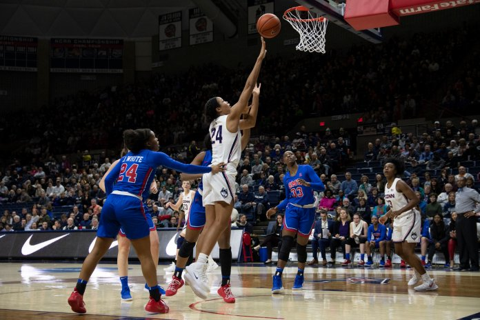 UConn's Napheesa Collier helped set high paced tempo against SMU Wednesday night in Gampel Pavilion (Nicholas Hampton/The Daily Campus)