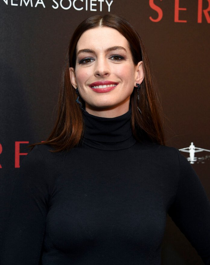 """Actress Anne Hathaway attends a special screening of """"Serenity"""" at the Museum of Modern Art on Wednesday, Jan. 23, 2019, in New York. (Photo by Evan Agostini/Invision/AP)"""