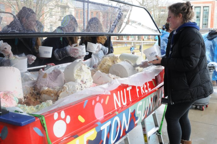 On Friday, as students took part in one of the oldest University of Connecticut traditions, One Ton Sundae, they were greeted by several changes in the running of the event. In addition to increasing the scale of the event this year, the price was waived for all students. (Nicole Jain/The Daily Campus)