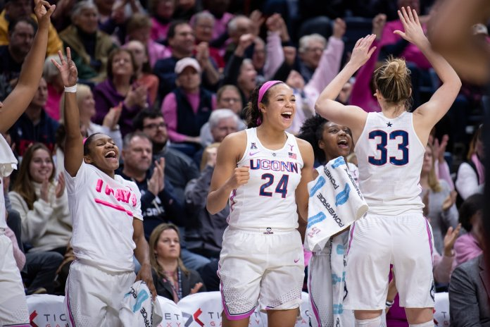 The Huskies defeat Temple for their Pink Game on Saturday, February 9 at Gampel. Their next game is on Monday at the XL Center against no. 12 South Carolina. (Photo by Charlotte Lao/The Daily Campus)