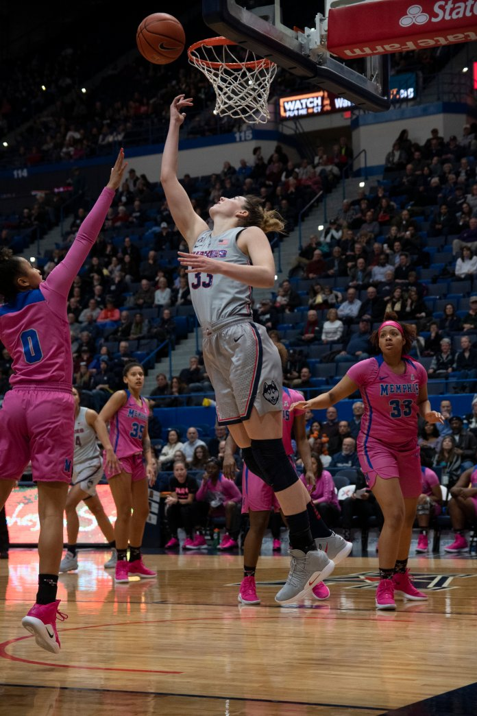UConn's Samuelson made it rain in the XL center Wednesday night going 7-for-8 from the 3-point line in the first half (Photo by Nicholas Hampton/The Daily Campus)