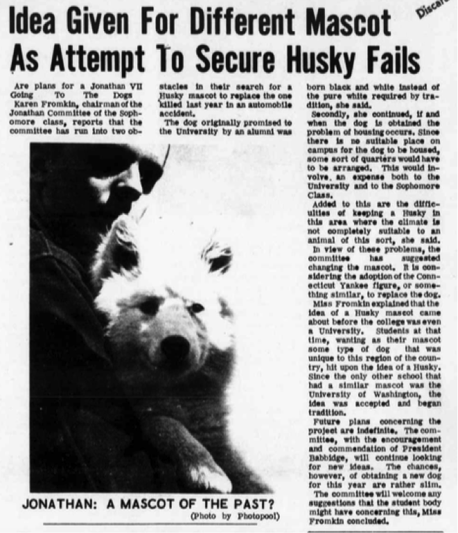 In March 1965, the University of Alaska gifted UConn with Jonathan VII. Jonathan VII was all white and came after UConn assisted the University of Alaska after they suffered damage from an earthquake. (Photo provided by writer)